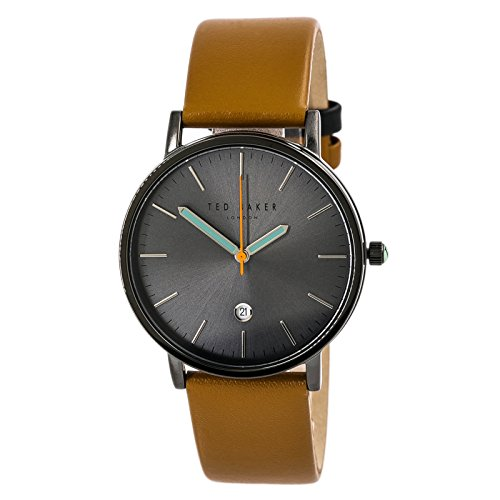 Ted Baker London Men's Black Analog Steel Watch Brown Leather Strap 10030656