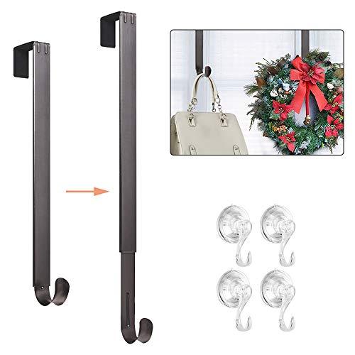 VIS'V Wreath Hanger, Wreath Hanger for Front Door Metal Wreath Hook with 4 Pack Suction Cup Hooks for Glass Door ()