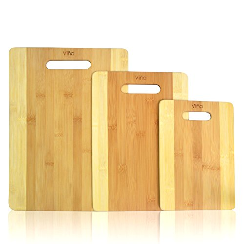 Vina 3 Piece Bamboo Cutting Boards Set - Chopping Board with Handle for Meat Veggie Prep, Serve Bread Crackers Cheese Butter, Cocktail Bar Board - Large, Medium and Small Size