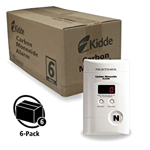 Kidde KN-COPP-3 Nighthawk Plug-In Carbon Monoxide Alarm with Battery Backup and Digital Display, 6-Pack Size: 6 Pack Color: White, Model: 21006973, Outdoor & Hardware Store