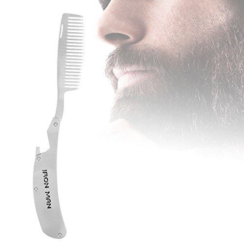 Portable Folding Beard Shaping Comb, Great for Head Hair, Beards, and Mustaches – Stainless Steel Styling Tool for Men