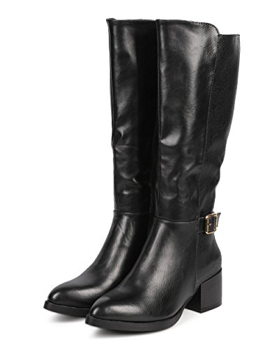 DbDk DA96 Women Paisley Almond Toe Knee High Zip Riding Boot - Black dkVdEz