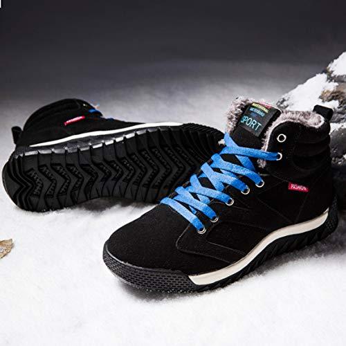 Cálidas Cordones Invierno Hombres La Con Cuero Zapatillas Nieve Forradas Botas Tobillo Ocasionales Altas 45 Gamuza Para Negro De YRxgB7qzn
