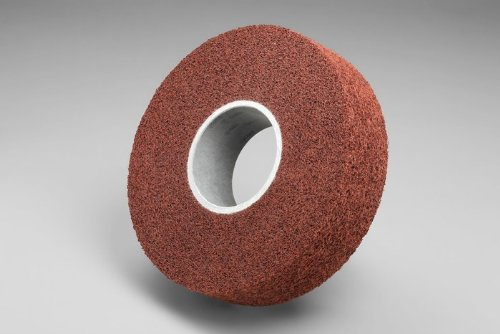 3M Scotch-Brite MF-WL Convolute Aluminum Oxide Medium Deburring Wheel - Medium Grade - Arbor Attachment - 8 in Dia 3 in Center Hole - Thickness 4 in - 4500 Max RPM - 92923 [PRICE is per WHEEL] by 3M