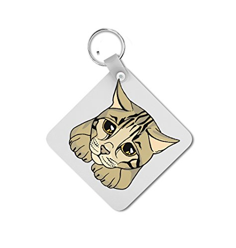 Bengal Cat Head Double-sided Square Metal Key Chain