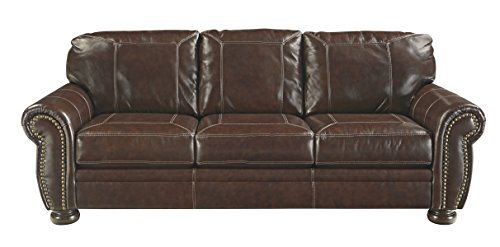 Banner Traditional Style Faux Leather Sofa With
