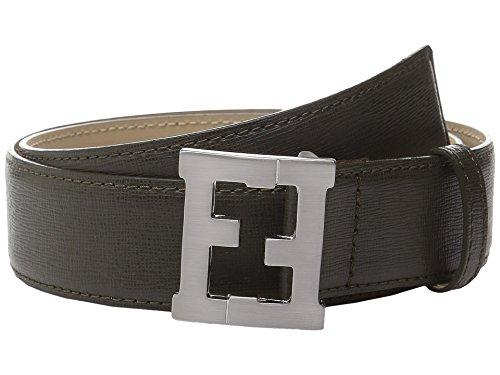 [Fendi Kids Boy's Leather Belt w/ Logo Buckle (Little Kids/Big Kids) Olive Belt 10 Years] (Fendi Logo Buckle Belt)