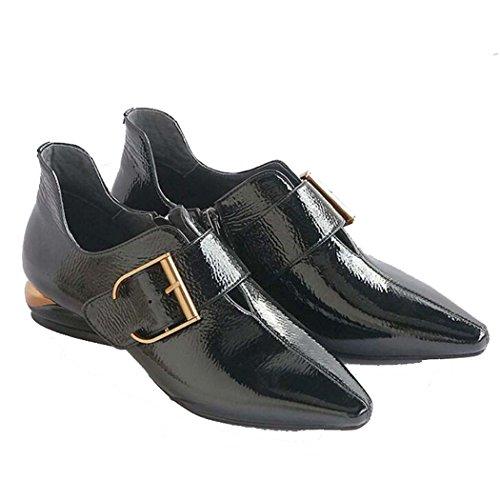 Sandalias de Punta Estrecha de Mujer Zapatos Planos Hebilla de Cinturón Negro Tamaño 34-39 (Color : Negro, Tamaño : 35)