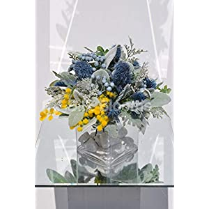 Silk Blooms Ltd Artificial Pale Blue Thistle and Yellow Mimosa Flower Arrangement w/Foliage and Glass Cube 111