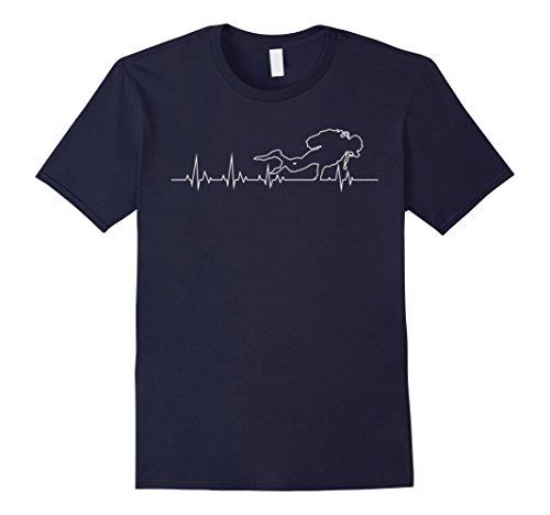 [Men's Scuba Diver Heartbeat T-Shirt  Large Navy] (Adult Deep Sea Diver Costumes)
