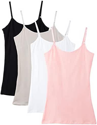 Caramel Cantina Shelf Bra Cami Tank-Top in Assorted Colors 4-Pack