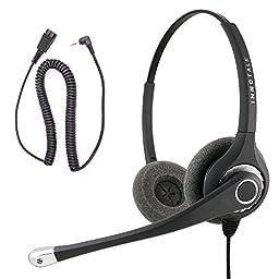 Jabra Compatible QD built Superb Pro Binaural Headset + 2.5 mm Headset Jack Price Deal Package for Customer Representative