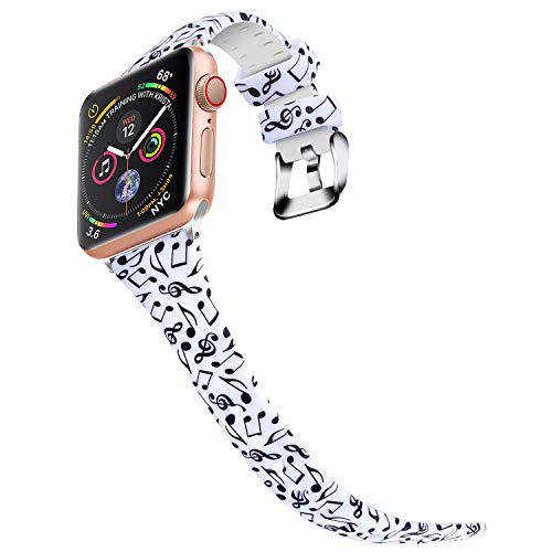 Bands for Apple Watch 42mm 44mm, JIELIELE Silicone Colorful Slim Women Wrist Strap Band iWatch Series 1, Series 2, Series 3, Series 4 Accessories - Note Color