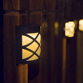 [Warm Light] Solar Light for Wall, porch, garden, fence, path; Sun powered outdoor Patio Deck Yard lamp, dusk to dawn sensor, 2 Pack