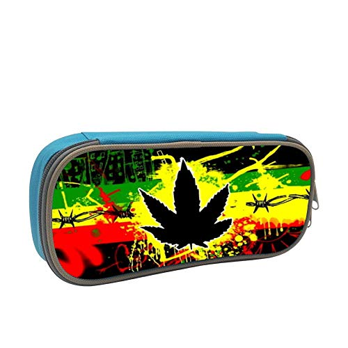 MAOXIANDER Student Marijuana Weed Big Capacity Homecube Pencil Case Stationery Pouch Pen Bag Blue (Weed Sonnenbrille)