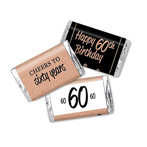 60th Birthday Favor Stickers, Miniatures Candy Bar Wrapper Labels, ROSE Gold Glitter and Black, 54 -
