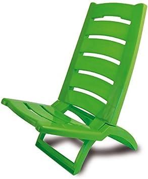 ADRIATIC 289/V - Silla de Playa Plegable de plástico para Piscina o Playa, Color Verde y Rojo, Juego de 1