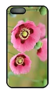 iPhone 5S Case - Customized Unique Design Pink Poppy New Fashion PC Black Hard