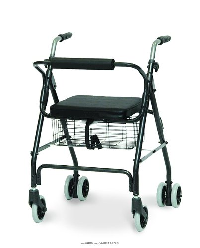 Aluminum Rollator with Pushdown Brakes & Basket, Rollator sft Seat Pdb Blue -Sp, (1 EACH, 1 EACH)