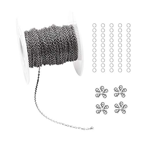 (33 Feet Stainless Steel Cable Chains Jewelry Making Chains Spool with 20 Lobster Clasps and 50 Jump Rings for Pendant Necklace DIY Making (Stainless Steel, Chain Width 1.0mm+20pcs Clasps+50 Rings))