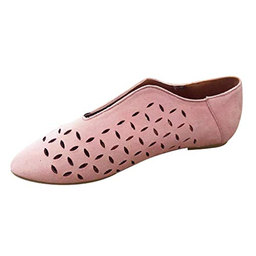 Haalife◕‿Womens Hollow Ankle Boots Sandal Comfortable Slip on Loafer Low Heel Dressy Leather Fashion Shoes Pink