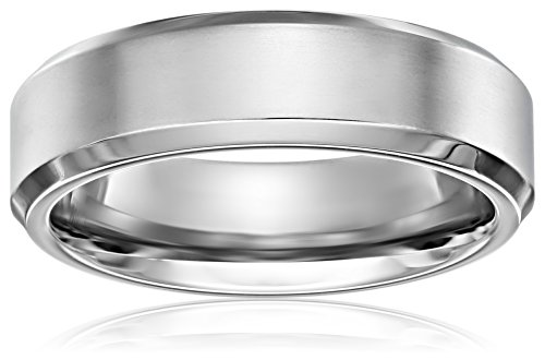 Titanium 7mm Comfort Fit Wedding Band with Satin Center and (Comfort Fit Satin Band Ring)