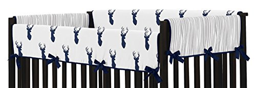 Sweet Jojo Designs 2-Piece Navy and White Woodland Deer Teething Protector Cover Wrap Baby Crib Side Rail Guards