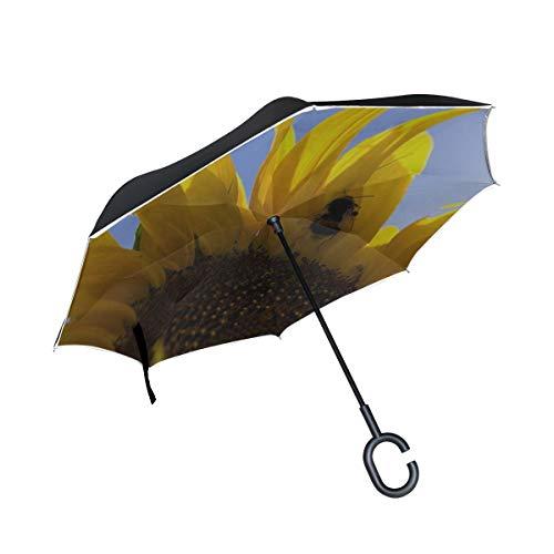 Rh Studio Inverted Umbrella Rain Sun Car Reversible Umbrella Hummel Sunflower Pollen Pollination Large Double Layer Outdoor Upside Down Umbrella with Women with Uv Protection C-Shaped Handle