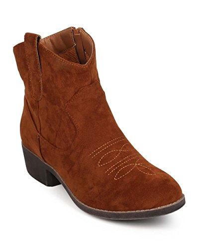 Qupid EF12 Women Embroidered Suede Almond Toe Zip Ankle Bootie - Camel (Size: 8.0) (Camel Suede Ankle Boots For Women)