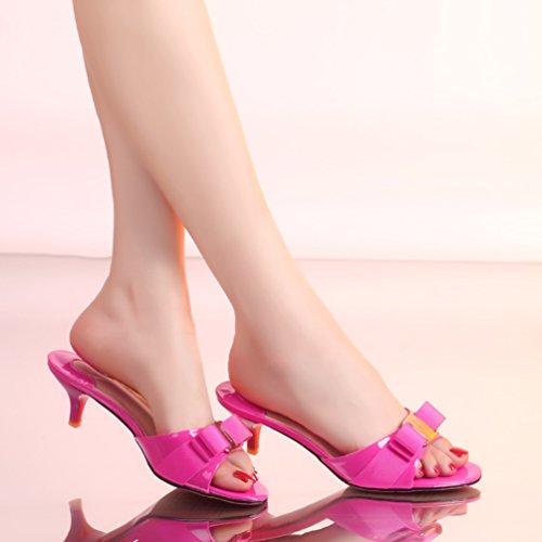 SUNROLAN Women's Violet Toe Pump Sandal Peep Slide Slide Heeled April Dress Heels Accent Rose Stiletto Bow Sandals rTAx5wFrqa