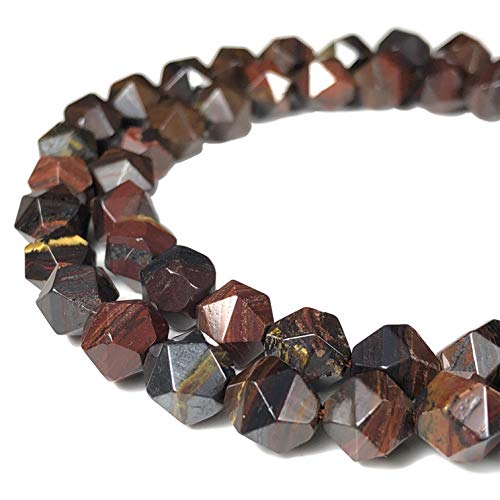 [ABCgems] Australian Red Tiger Iron (Combination of Black Hematite, Tiger's Eye & Red Jasper) 8mm Precision-Star-Cut Beads for Beading & Jewelry Making