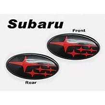Front & Rear Glossy Black Insert Badge Emblem For 2011-Up Subaru Impreza WRX STI
