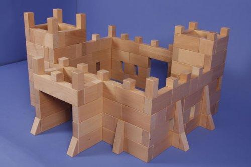 Die Ritterburg aus Holzbauklötzen - Ein Set aus 170 Bauklötzen der Manufaktur Tischlerschuppen