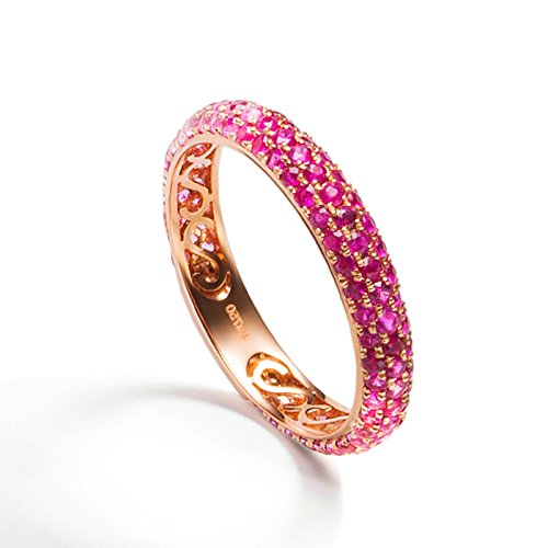 Daesar Womens Rings 18K Rose Gold Ring Ruby Natural Gem Band 3.4MM Promise Wedding Rings Size 7.5 by Daesar