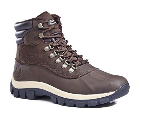 Kingshow Men's Waterproof 0705 Brown Genuine Leather Work Boots 10.5 M US
