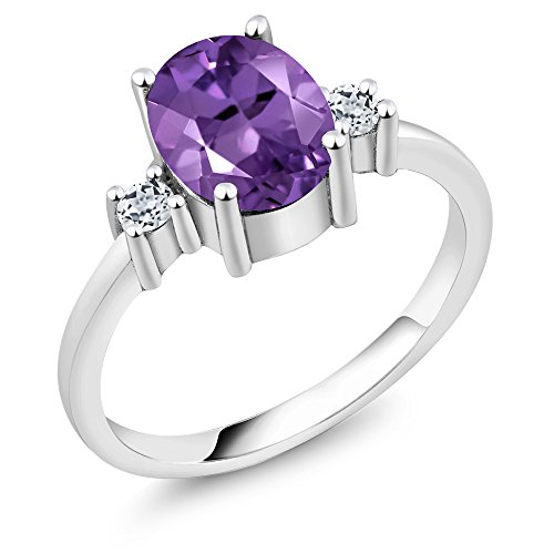 wholesale Purple Amethyst and White Topaz 925 Sterling Silver Gemstone Birthstone Women's 3-Stone Ring (1.82 cttw, Available in size 5, 6, 7, 8, 9) big discount