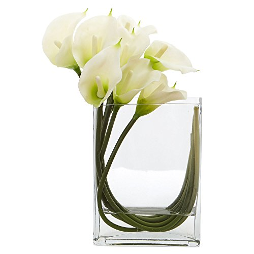 - Nearly Natural Calla Lily in Rectangular Glass Vase, 12