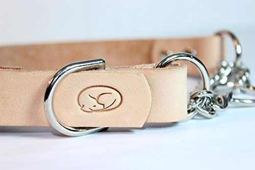 sleepy pup Adjustable Leather Martingale Chain Dog Collar (Medium: 14-18, Natural)