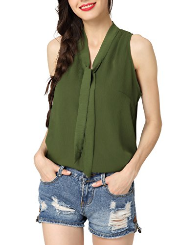 Abollria Womens Summer Chiffon Sleeveless Tops Casual Blouse Shirt with V Neck Bow Green ()