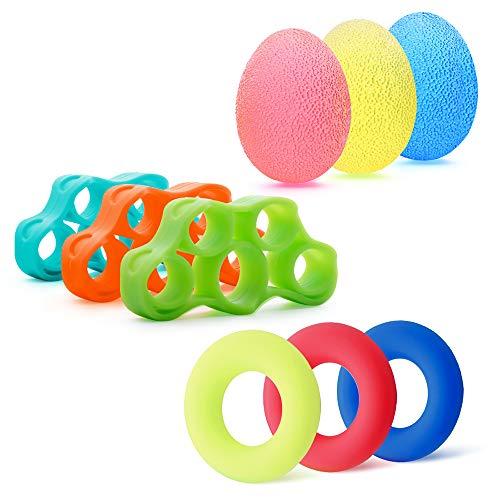 MEJO Hand Grip Strengthener Finger Exerciser Stress Balls Kits Grip Strength Trainer Workout Relieve...
