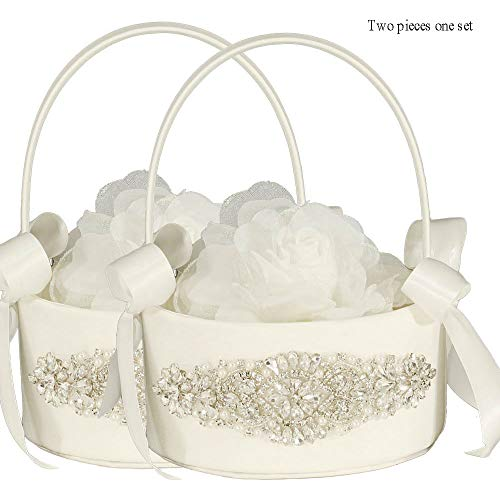 LAPUDA Two Pieces one Set, Flower Basket Series-Wedding Flower Basket, Flower Girl' Basket, Rhinestone Flower Basket Style HL0251 (Ivory)]()