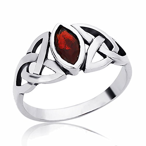 Simulated Ruby Marquise - Women's Sterling Silver 9mm Marquise Shape Simulated Ruby Celtic Knot Engagement -Size: 10