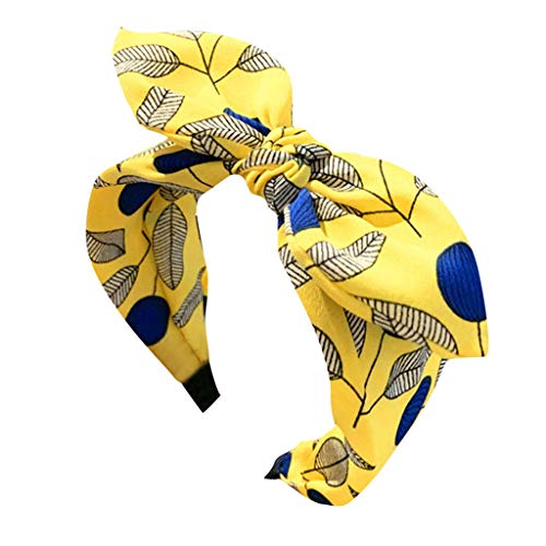 Women Printed Hair Band Bows Accessories Solid Makeup Headband Original Multi Style Headband Beach Hair Accessory Yellow