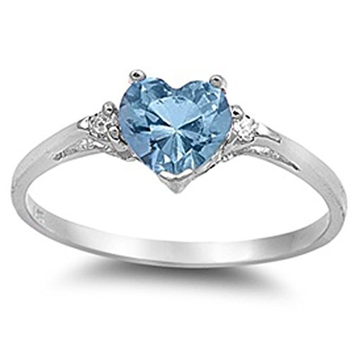Aquamarine Zirconia Cubic Heart (Simulated Aquamarine Heart & White Cubic Zirconia Ring Size 6)