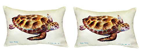 Pair of Betsy Drake Green Sea Turtle No Cord Pillows 15 Inch X 22 Inch price