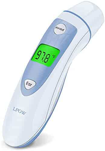 Baby Thermometer, Digital Medical Forehead and Ear Thermometer for Fever, LPOW Instant Accurate Reading Infant Infrared Temporal Thermometer for Toddlers, Kids and Adults