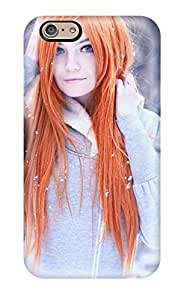 For iphone 4 4s Fashion Design Girl With Orange Hair Case
