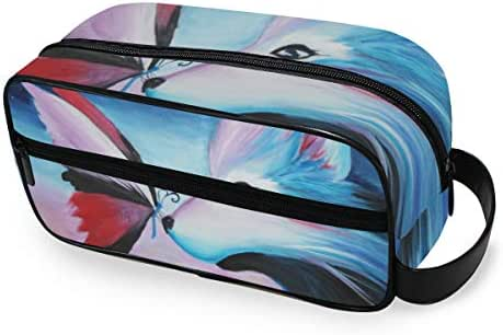 Oil Painting Galaxy Wolf Cosmetic Makeup Bag Toiletries Organizer Compact Bathroom Storage Home, Gym, Airplane, Hotel, Car Use for Women Men Girls