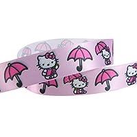 """3yd Offray 7/8"""" Hello Kitty Ribbon--Satin--Umbrella"""