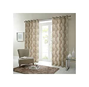 FOREST TREES CREAM BEIGE 117X137CM RING TOP LINED CURTAIN DRAPES #SEERTDNALDOOW *CUR*